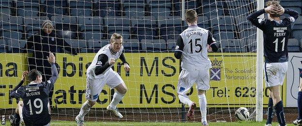 Billy McKay celebrates after scoring for Inverness against Dundee
