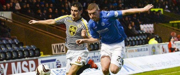 St Mirren's Kenny McLean vies for possession with St Johnstone defender Brian Easton