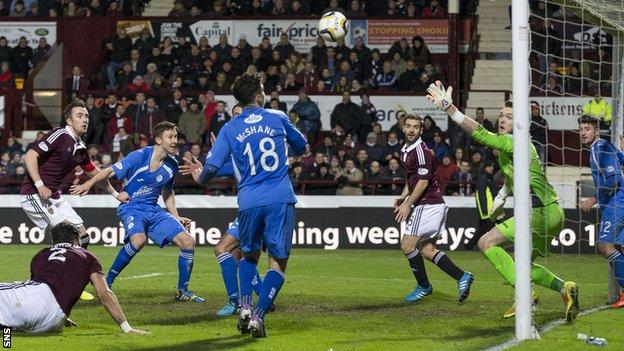 Danny Wilson scores for Hearts against Queen of the South