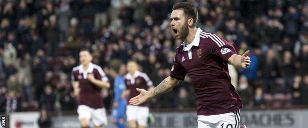 James Keatings celebrates after scoring for Hearts against Queen of the South
