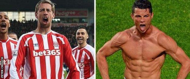 Peter Crouch and Cristiano Ronaldo