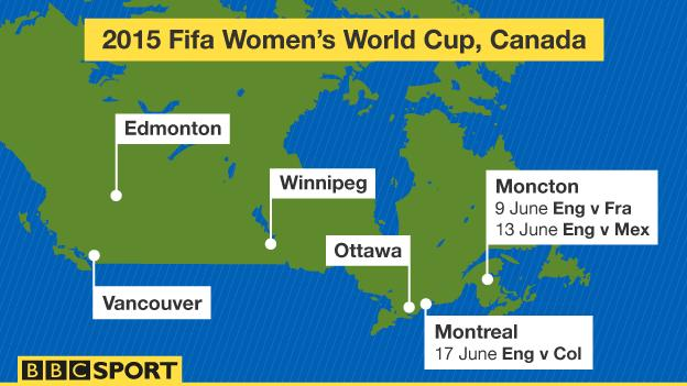 Graphic showing where England will play their matches at the 2015 World Cup (two games in Moncton, one in Montreal)