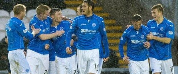 St Johnstone's Michael O'Halloran (2nd left) is congratulated on his goal which later won the game for his side.