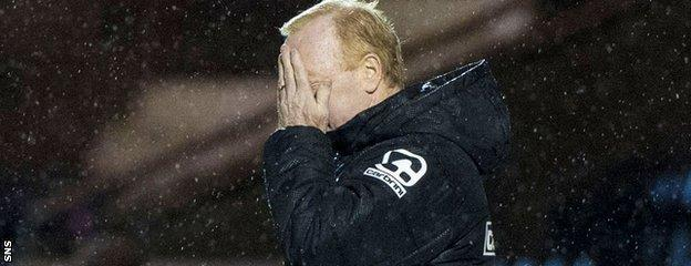 A despondent Tommy Craig during the 1-0 defeat by St Johnstone
