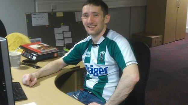 Blyth Spartans fan Tom Crane