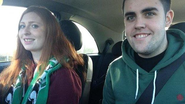 Laura Dodds Blyth fan on way to game