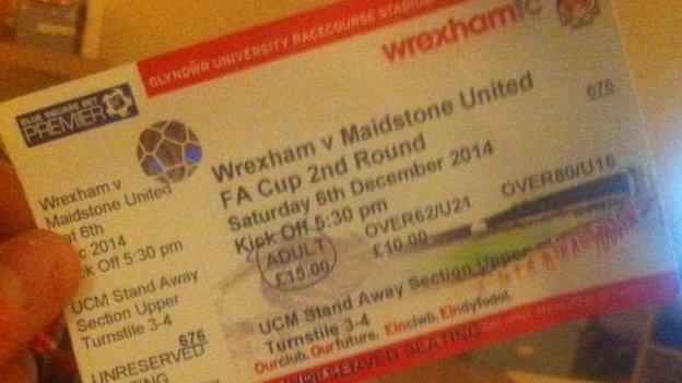 Maidstone fan Callum Glaze's match ticket
