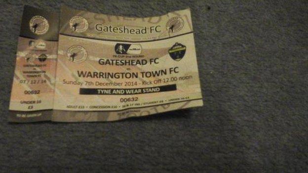 Warrington fan Laurence Taylor's match ticket for Gateshead