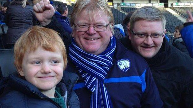 Paul Barker and family celebrate Chesterfield's win at MK Dons