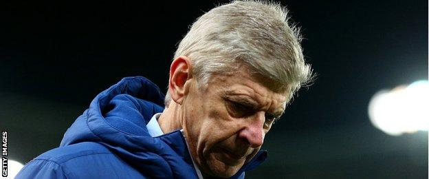 Arsenal manager Arsene Wenger reacts after his side's 3-2 defeat at Stoke