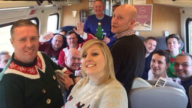 Jack Young and Dartford fans on the train to Bradford