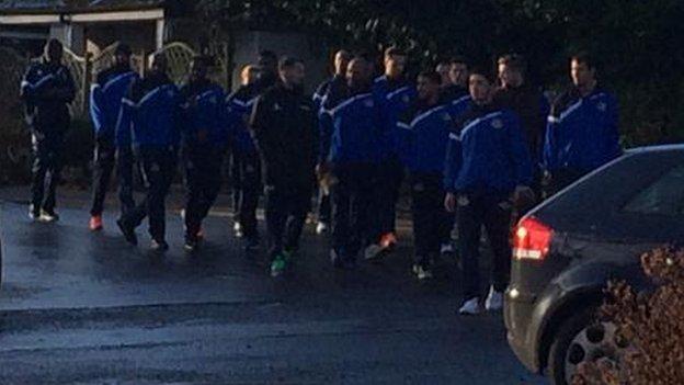 Worcester City team leave hotel