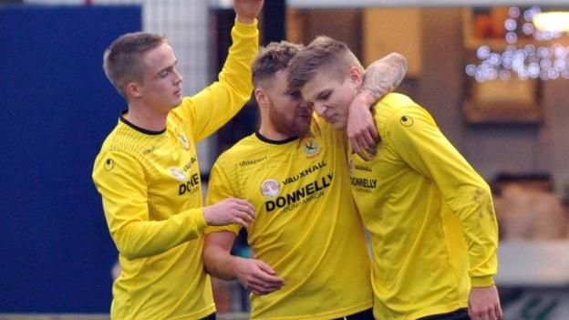 Andrew Mitchell was on target twice for Dungannon in the Irish Premiership game at Milltown