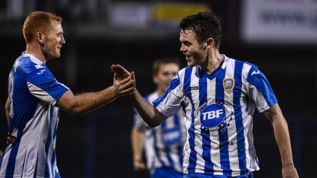 Shane McGinty scored the opener in Coleraine's 2-0 victory over champions Cliftonville at Ballycastle Road