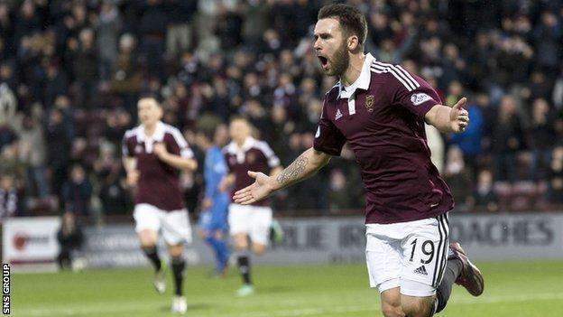 James Keatings celebrates at Tynecastle