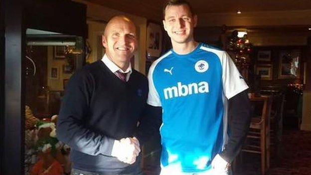Simon Haggata with Chester manager Steve Burr