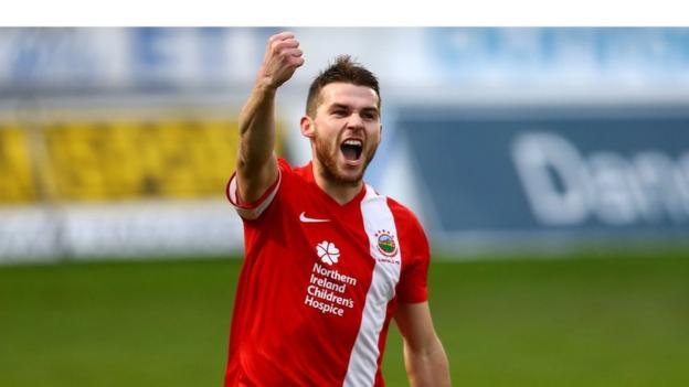 Stephen Lowry was one of Linfield's goalscorers in an important victory at Ballymena