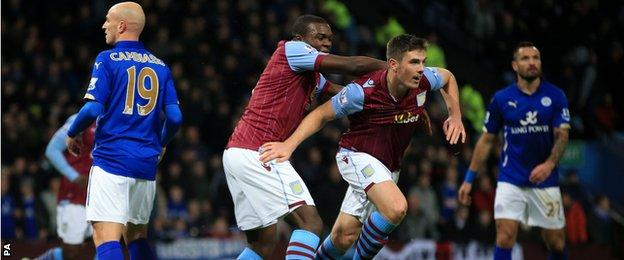 Aston Villa defender Ciaran Clark celebrates scoring against Leicester City