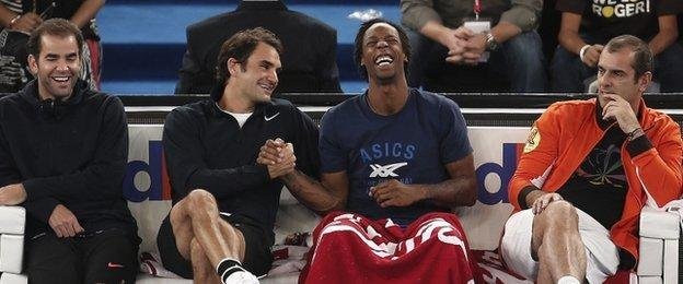 Sampras, Federer, Monfils and Pioline.