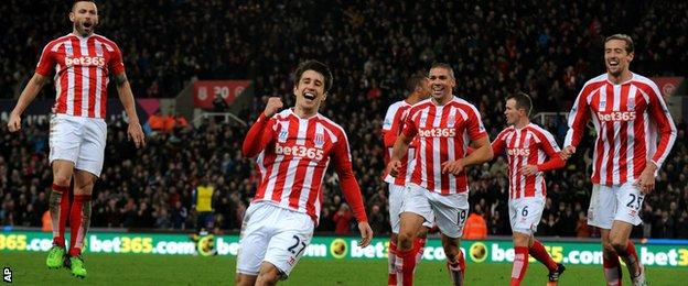 Bojan and Stoke players celebrate