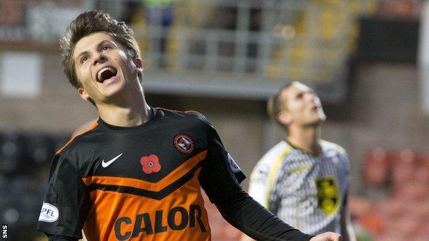 Dundee United midfielder Charlie Telfer celebrates a goal