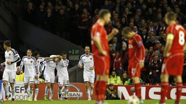 Basel celebrate scoring against Liverpool at Anfield in the Champions League