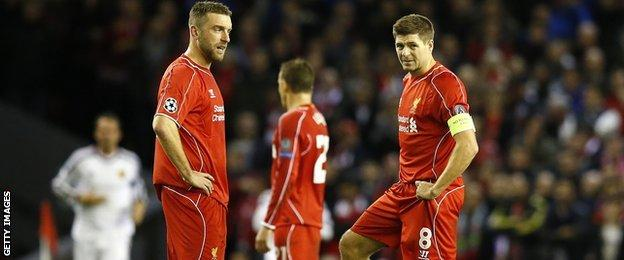 Liverpool captain Steven Gerrard (right) reacts after Basel take the lead at Anfield