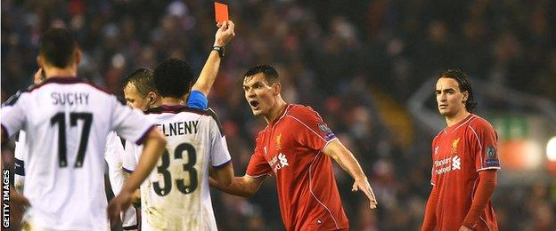 Liverpool substitute Lazar Markovic (right) is sent off
