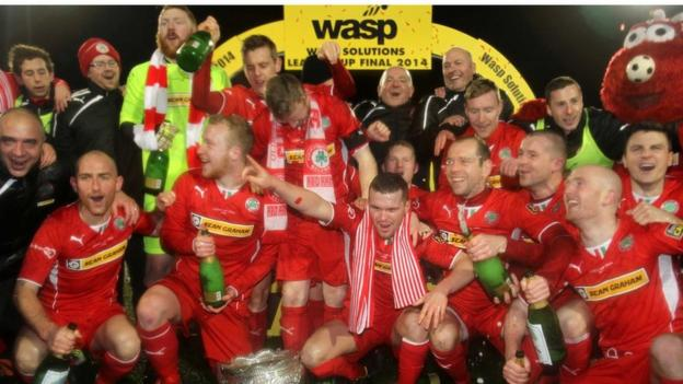 Cliftonville beat north Belfast rivals Crusaders at Solitude to win the 2014 Wasp Solutions League Cup final in January