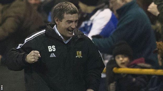 Alloa Athletic manager Barry Smith celebrates against Rangers