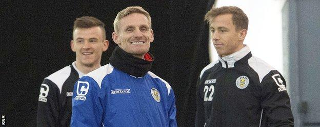 Gary Teale is all smiles as he takes St Mirren training on Wednesday
