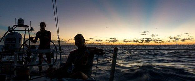 Team SCA on deck at sunset