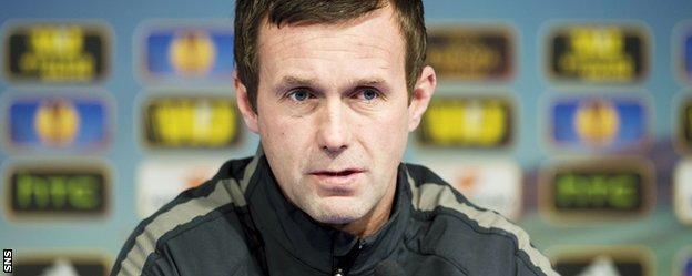 Celtic manager Ronny Deila speaks to the media in Zagreb