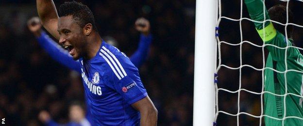 John Mikel Obi turns away after scoring Chelsea's third goal