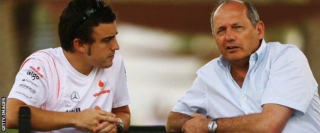 Fernando Alonso and Ron Dennis in the paddock during the build up to the Bahrain Formula One Grand Prix in April 2007