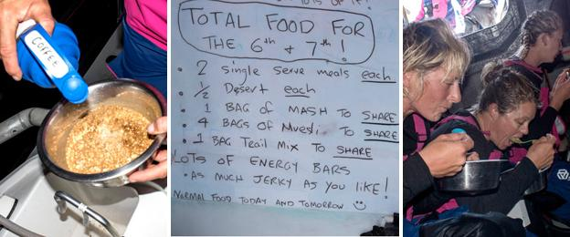 A team member pours coffee on her cereal; a scribbled menu sheet shows what the crew have to eat; team members eat a meal.