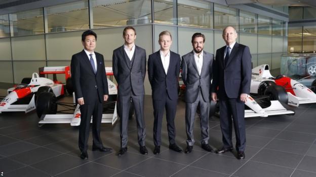 McLaren's Yasuhisa Arai, Jenson Button, Kevin Magnussen, Fernando Alonso and Ron Dennis