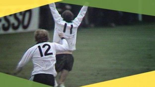 Ronnie Radford celebrates after scoring against Newcastle