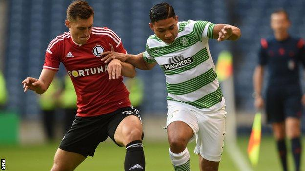 Celtic's Emilio Izaguirre (right) Legia Warsaw's Michal Zyro could tussle again in the Europa League knockout stages.