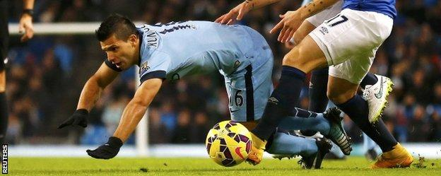 Sergio Aguero sustained his knee injury early in City's win over Everton on 6 December