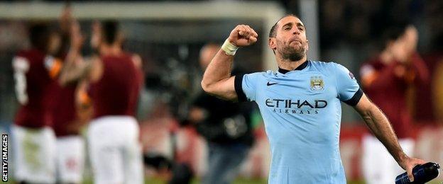Man City defender Pablo Zabaleta celebrates victory over Roma