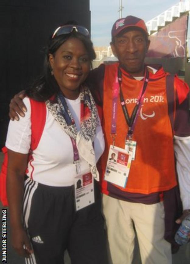 Junior standing with Tessa Sanderson at the 2012 Paralympic Games