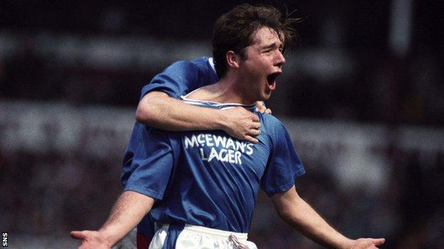 Ally McCoist celebrating after scoring for Rangers in 1992