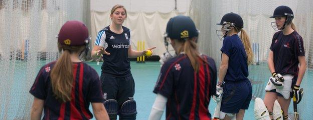 England's Heather Knight takes a batting session with Glamorgan's young female cricketers