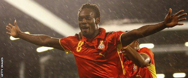 Michael Essien celebrating a goal for Ghana
