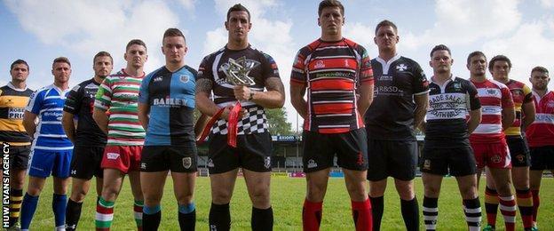 Principality Premiership club players at their 2014-15 launch