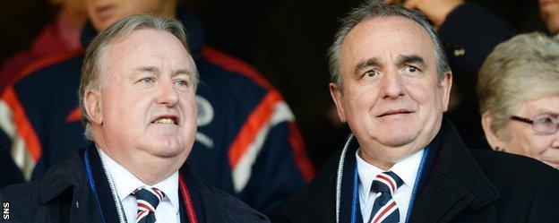 Rangers chairman David Somers with non-executive director Derek Llambias