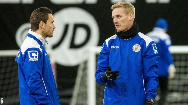 Interim player-manager Gary Teale (right) supervises St Mirren training