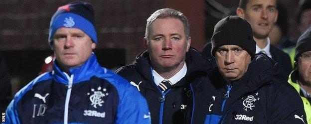 Ian Durrant, Ally McCoist and Kenny McDowall on the sidelines in Dumfries