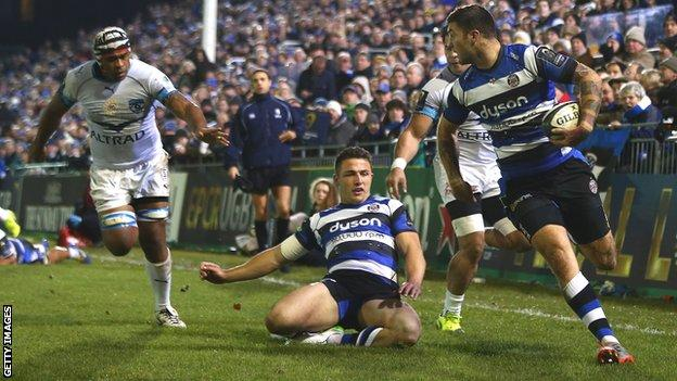 Sam Burgess watches on as Matt Banahan score Bath's first try on Friday against Montpellier